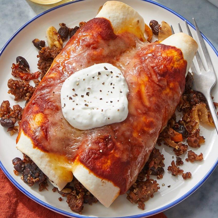 Beyond Beef™️ & Quinoa Enchiladas with Black Beans & Monterey Jack Cheese