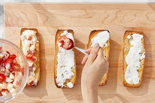 Toast the bread & assemble the bruschetta: