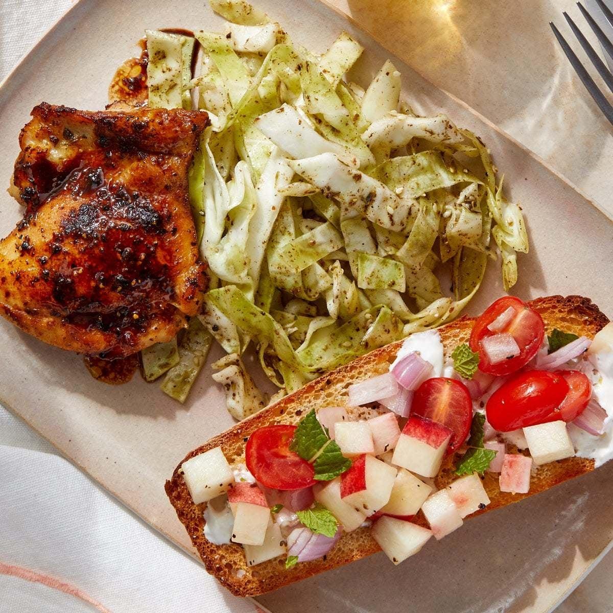 Greek-Style Chicken & Bruschetta with Za'atar-Honey Slaw