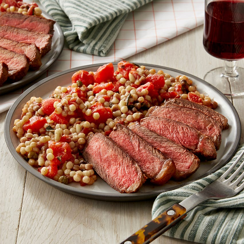 Sicilian Steak & Fregola Sarda with Tomato Sauce & Toasted Pine Nuts