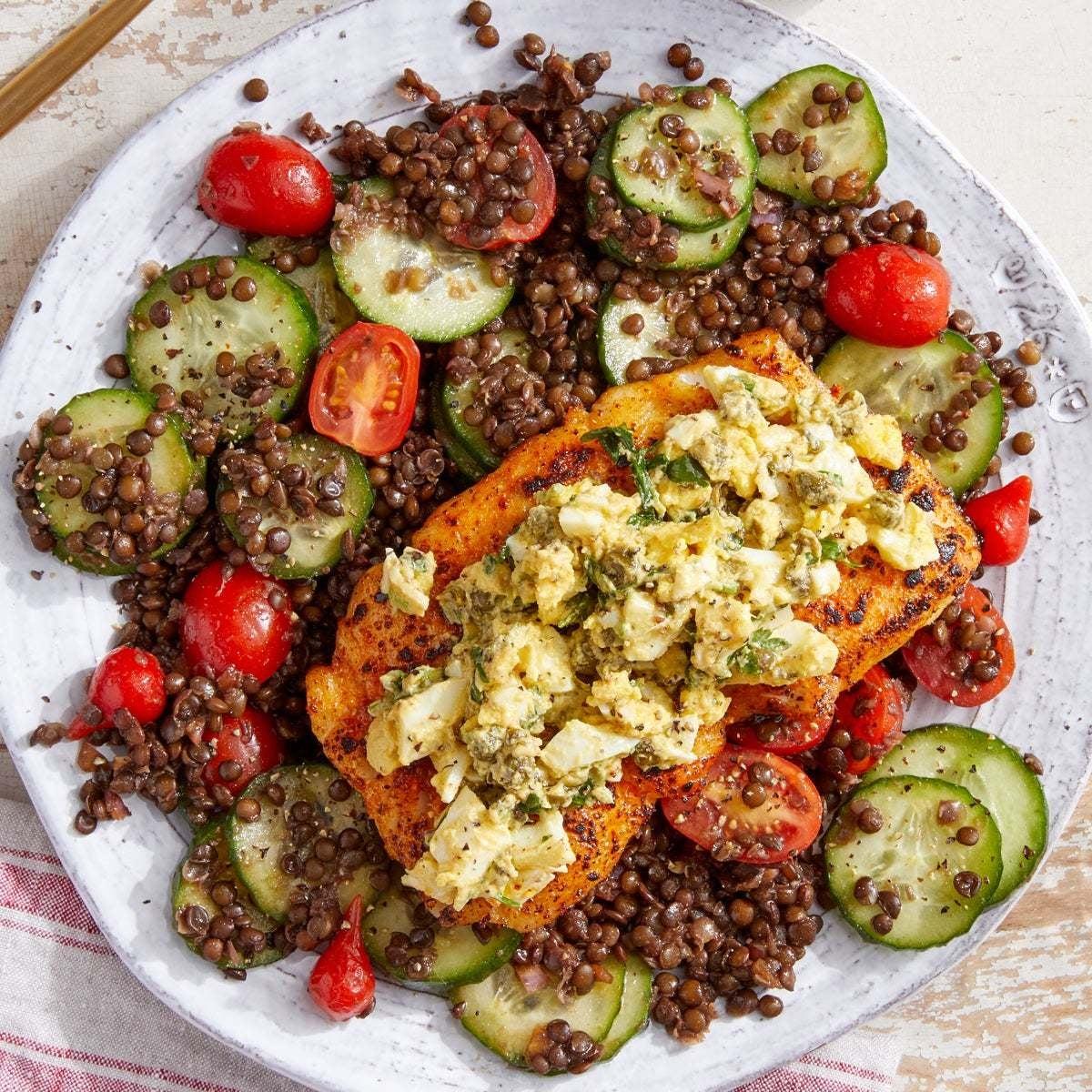 Spiced Cod & Sauce Gribiche with Balsamic-Dijon  Lentil Salad