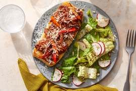 Cheesy Italian Beef Tartines with Romaine & Radish Salad