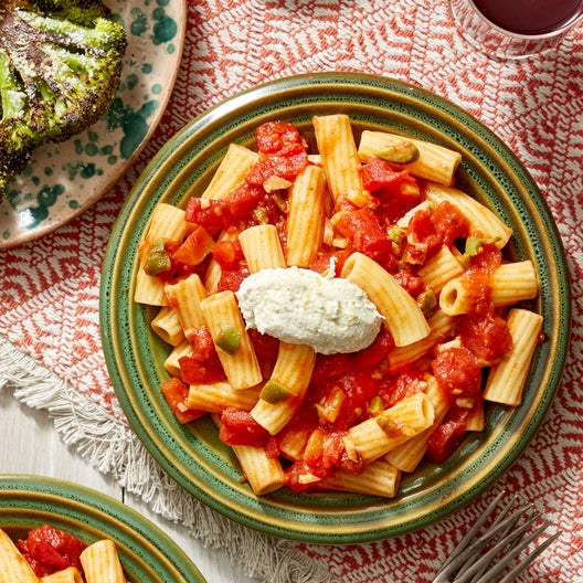 Spicy Tomato & Olive Pasta with Lemon Ricotta & Roasted Broccoli