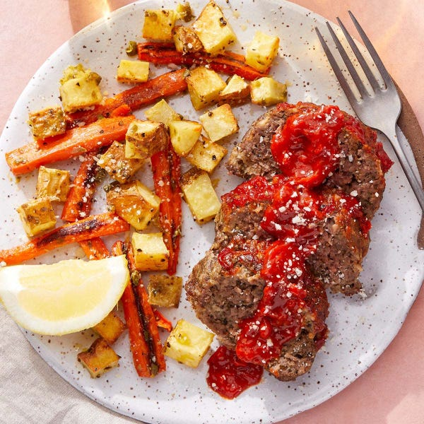 Calabrian Chile-Glazed Meatloaf with Lemon-Caper Roasted Vegetables