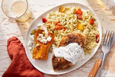 Za'atar Chicken & Roasted Squash with Salsa Verde Orzo