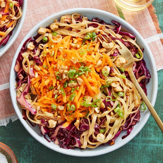 Fresh Wonton Noodles with Marinated Cabbage & Carrots