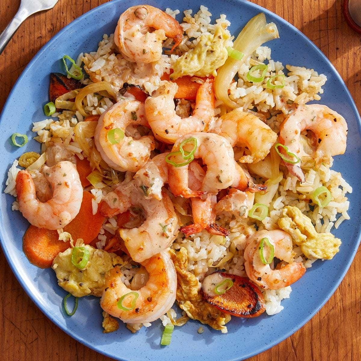 Hibachi-Style Shrimp Fried Rice with Spiced Mayo