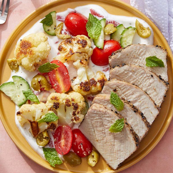Dukkah-Spiced Pork with Roasted Cauliflower Salad