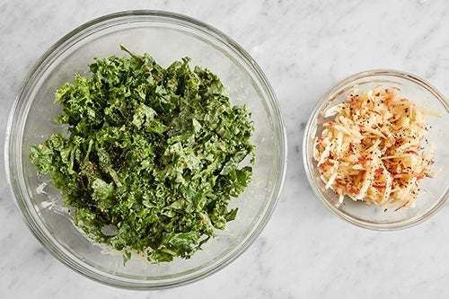 Marinate the apple & kale: