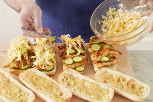 Toast the rolls & assemble the sandwiches: