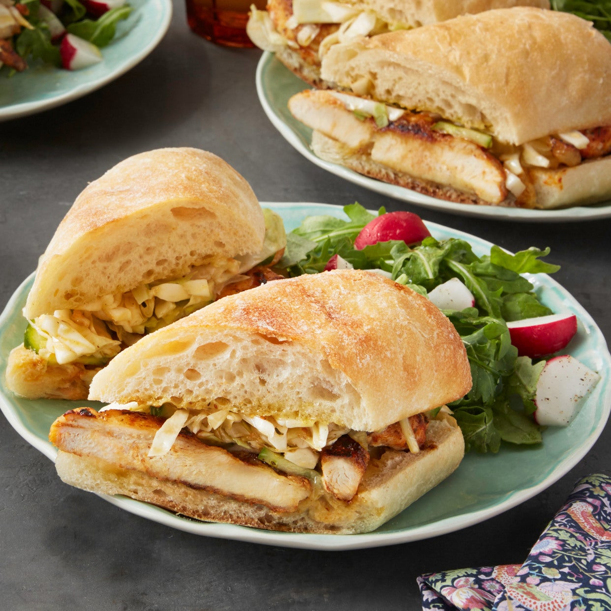 Cajun Chicken Sandwiches with Quick Pickles & Arugula Salad