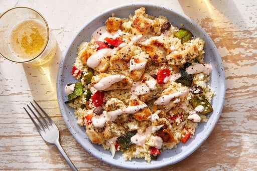 Chicken over Couscous Salad with Spicy Sour Cream
