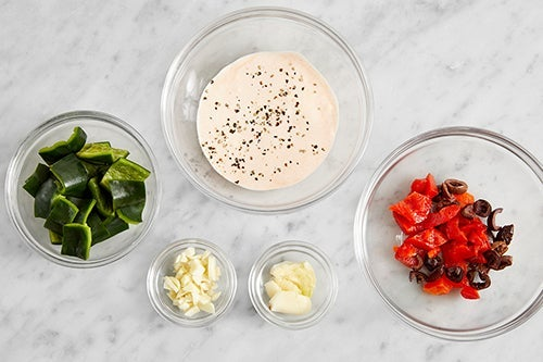 Prepare the ingredients & make the spicy sour cream: