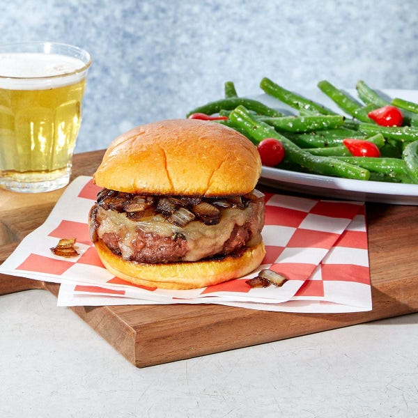 Caramelized Onion & Cheddar Beyond Burgers™ with Garlic Green Beans