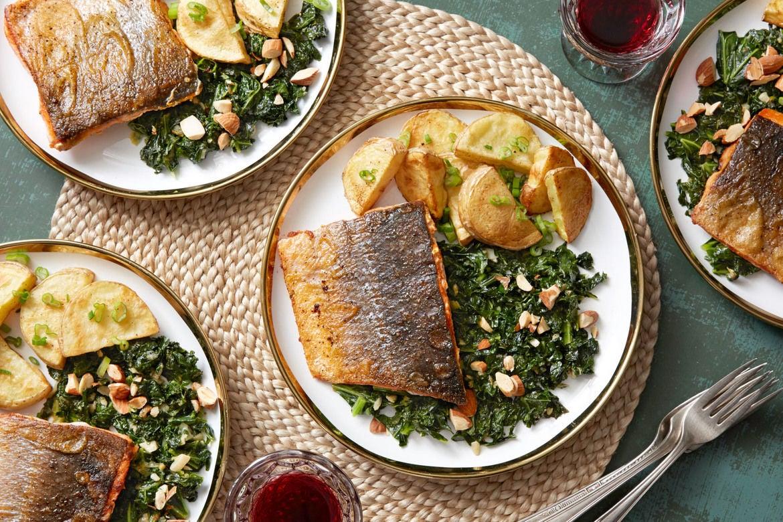 Paprika-Spiced Salmon with Sautéed Kale & Roasted Potatoes