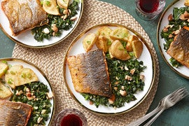 Paprika-Spiced Salmon with Sautéed Kale & Roasted Potatoes