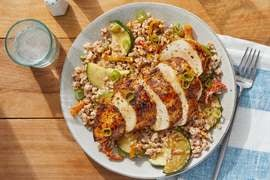 Cajun-Spiced Chicken & Maple Mustard with Creamy Vegetable Farro