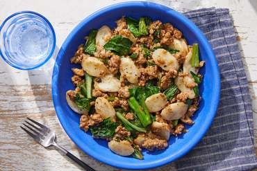 Korean Pork & Rice Cakes with Yu Choy