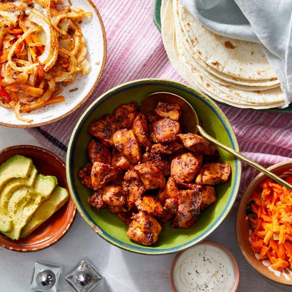 Ancho-Honey Chicken Fajitas with Roasted Vegetables & Avocado