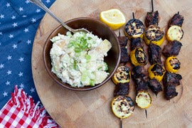 Steak & Summer Squash Kabobs with Blue Cheese Potato Salad