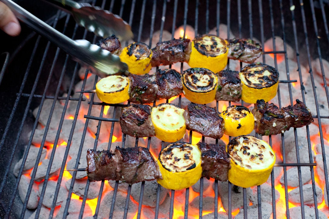 Grill the skewers: