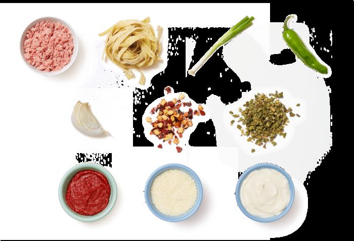 Pork Ragù & Fresh Basil Fettuccine with Shishito Peppers