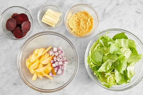 Prepare the ingredients & make the feta spread: