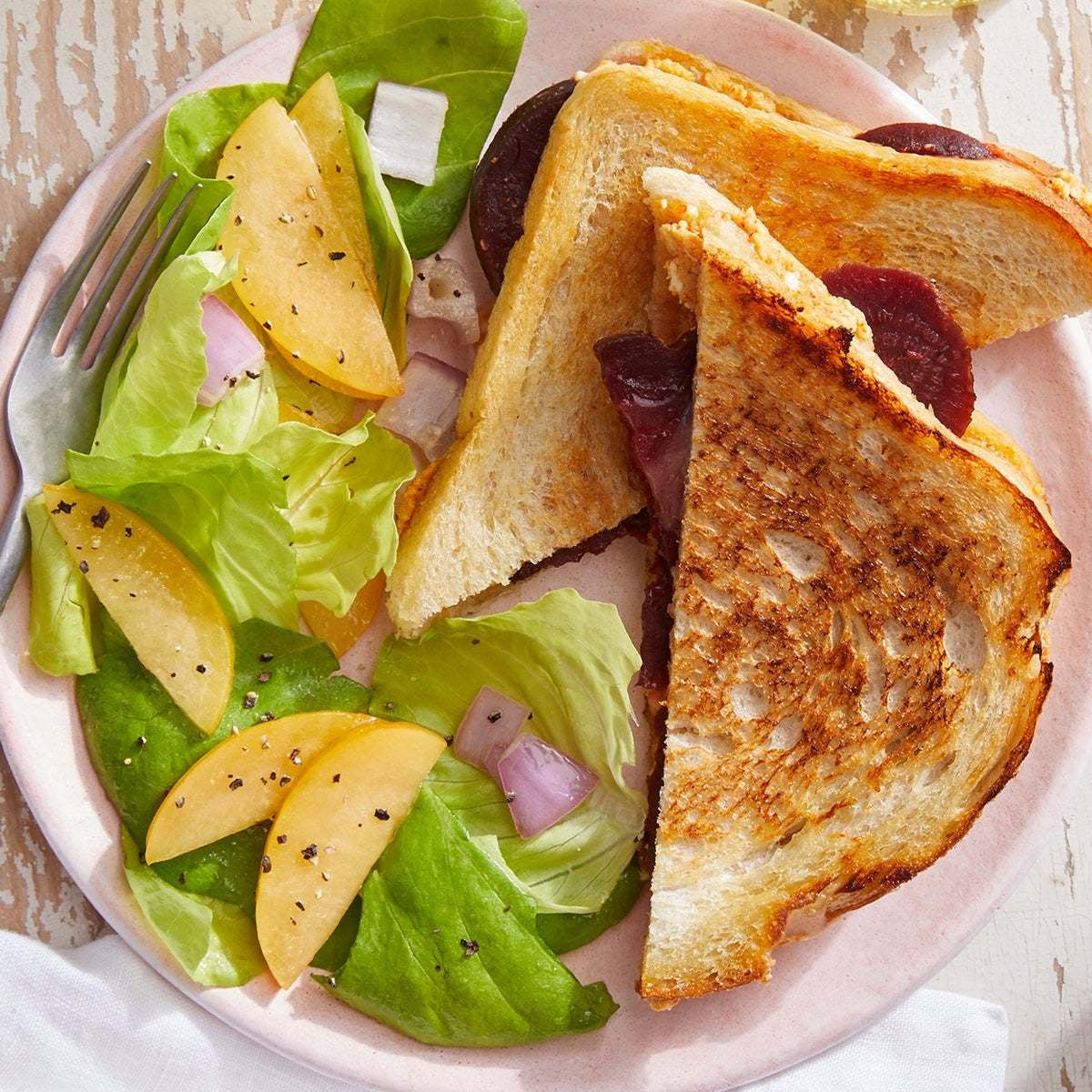 Feta & Beet Grilled Cheese with Pear & Butter Lettuce Salad