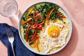 Cheesy Southern-Style Grits with Collard Greens & Fried Eggs