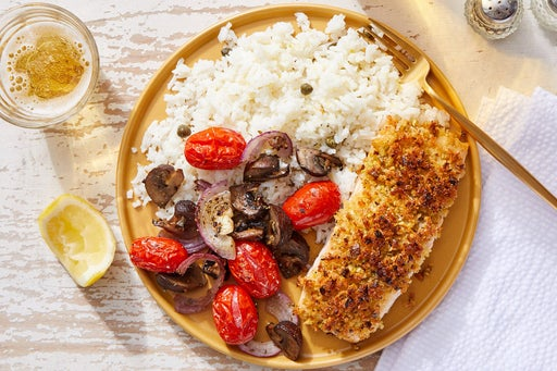 Pistachio-Crusted Salmon with Piccata-Style Rice & Roasted Vegetables