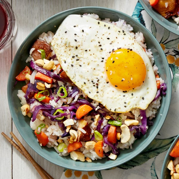 Shiitake & Red Cabbage Fried Rice with Sunny Side-Up Eggs & Cashews