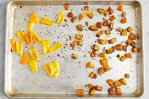 Roast the peppers & squash: