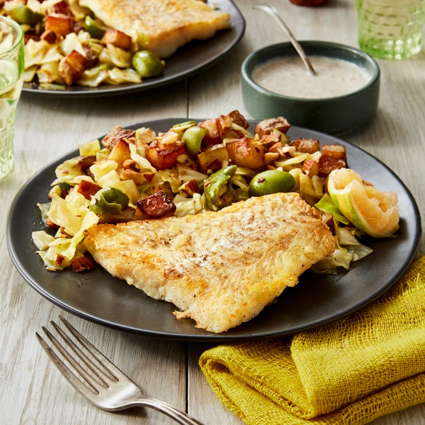 Seared Cod & Crème Fraîche Sauce with Potato, Cabbage, & Olive Hash