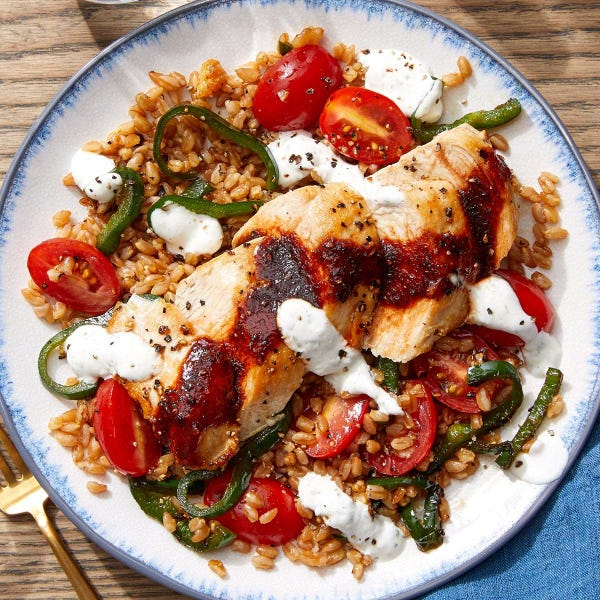 Seared Chicken & Honey-Chipotle Sauce with Vegetable Farro