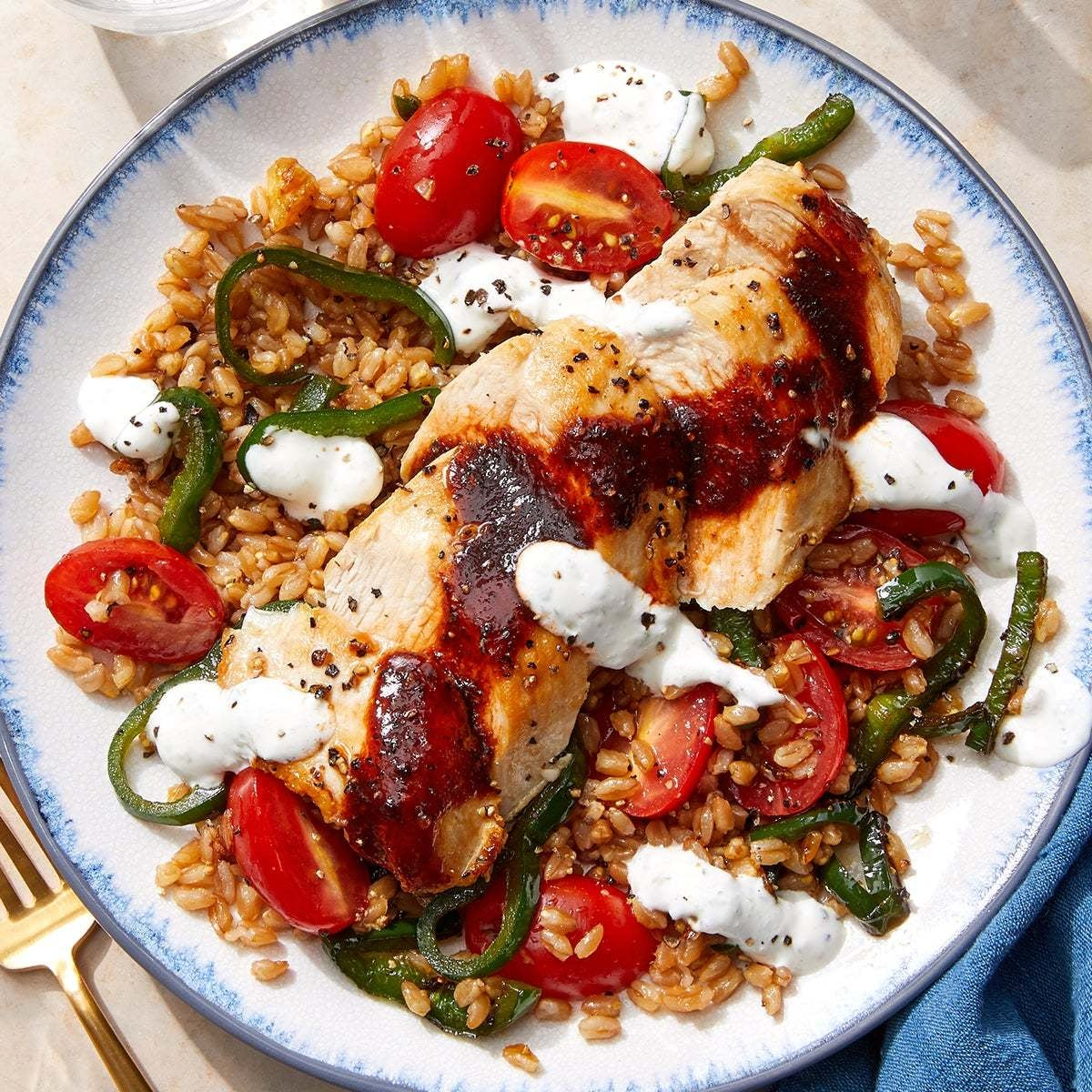 Honey-Chipotle Chicken with Vegetable Farro & Lime Sour Cream