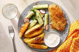 Creamy Mustard Baked Chicken with Potato Wedges & Spiced Yogurt Dipping Sauce