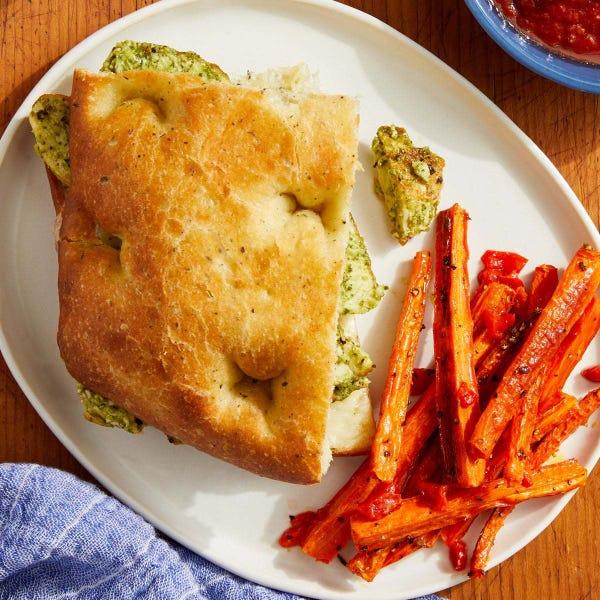 Pesto Chicken Focaccia Sandwiches with Tomato Dipping Sauce