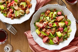Farro & Pickled Rhubarb Salad with Radishes & Spiced Walnuts