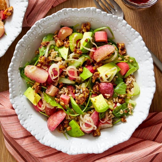 Farro & Pickled Rhubarb Salad with Radishes & Spiced Walnuts