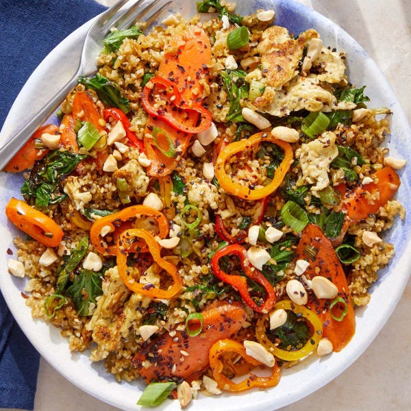 "Vegetable & Freekeh ""Fried Rice"" with Peanuts & Furikake"