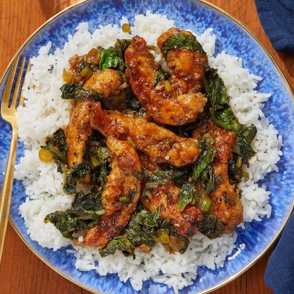 General Tso's Chicken with Gai Lan & Jasmine Rice