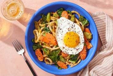 Udon Noodles & Fried Eggs with Gai Lan, Carrots & Sesame-Sambal Sauce