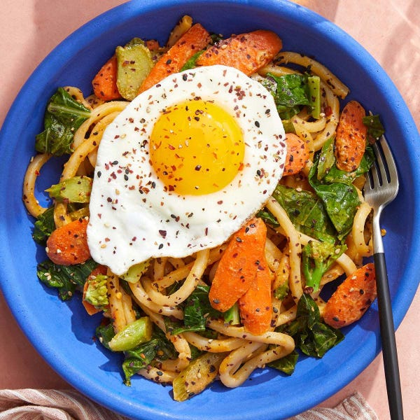 Udon Noodles & Fried Eggs with Gai Lan, Carrots & Sesame-Sambal Sauce