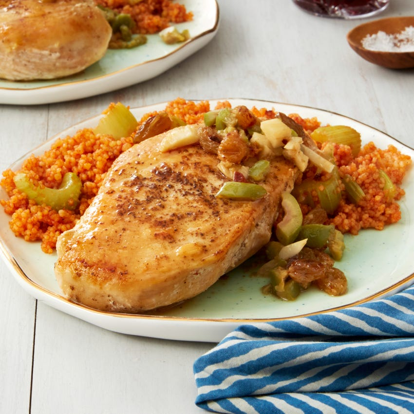 Seared Chicken & Creamy Couscous with Olive & Raisin Sauce
