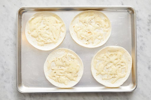 Make the cheesy tortillas: