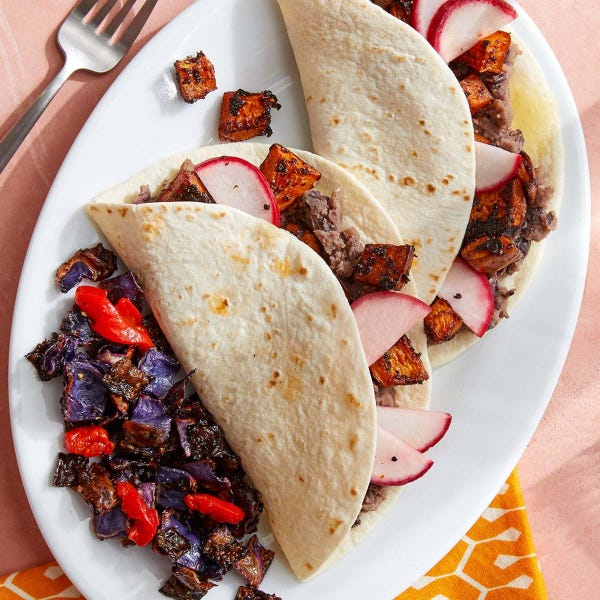 Chipotle Squash & Black Bean Tacos with Roasted Cabbage & Peppers