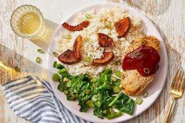 Crispy Chicken & Gochujang Sauce with Squash Rice & Sautéed Gai Lan