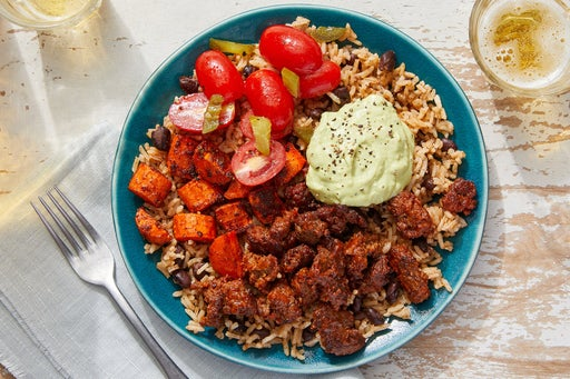 Mexican Beef & Rice Bowls with Guacamole & Tomato Salsa