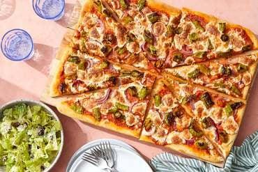 Shishito Pepper & Onion Pizza with Creamy Tomato Sauce