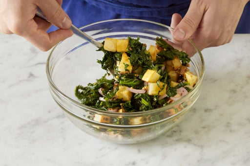 Make the potato salad & plate your dish: